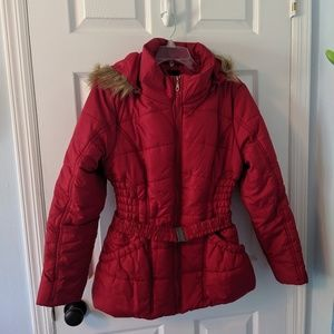 GUC Red Hooded Puffer Jacket Large